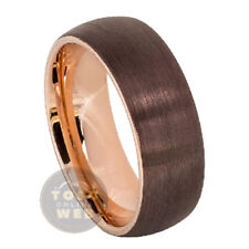Men's 8mm Semi Dome Brown & Rose Gold IP Plated Brushed Tungsten Ring TS5990
