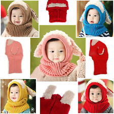 Warm Cute Baby Boy Girl Children Crochet Knit Winter hat Beanie Hood Scarf Cap