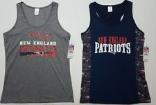 New England Patriots NFL Women's Gray or Navy Racerback Tank Top T-shirts:S-XL