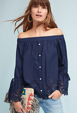 Anthropologie Off-The-Shoulder Eyelet Top by Isabella Sinclair Navy XS & PXS NWT