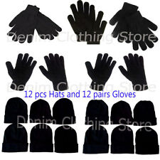 Men Women  Black 12 Beanie 12 pairs Sets Warm  Winter Gloves Hats Wholesale Lot