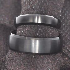 Tungsten Black Satin Dome Top Shiny Bevel Edge Wedding Band 6 OR 8 mm