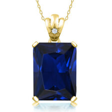 17.53 Ct Simulated Sapphire White Topaz 18K Yellow Gold Plated Silver Pendant