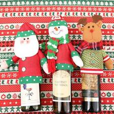Christmas Snowman Santa Reindeer Tableware Gift Wine Bottle Wrapping Cover Bag
