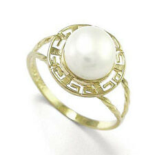 14K GOLD GENUINE WHITE PEARL GREEK DESIGN RING #R796.