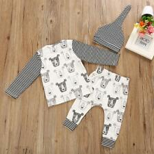 Newborn Kids Baby Boys Girls Long Sleeve Christmas Striped Top and Pants Outfit