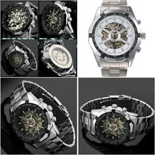 Mens Skeleton Date Automatic Sliver Mechanical Sport Wrist Watch Stainless Steel