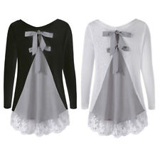 Lady NEW Long Sleeve Knit Top Blouse Back Bowknot Lace Insert Top