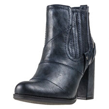 Mustang Heeled Ankle Boot Womens Blue Synthetic Casual Ankle Boots Zip