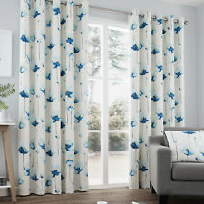 Contemporary Hand Painted Poppy Floral Print Ring Top Curtains, Teal