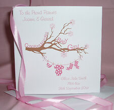 HANDMADE PERSONALISED CONGRATULATIONS BABY BOY/GIRL CARD NAMES,DATE OF BIRTH ETC