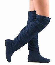 RF Room Of Fashion TrendHI-02 Vegan Slouchy Pullon Over-the-Knee Boots NAVY SU