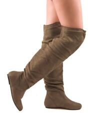 RF Room Of Fashion TrendHI-02 Vegan Slouchy Pullon Over-the-Knee Boots OLIVE SU