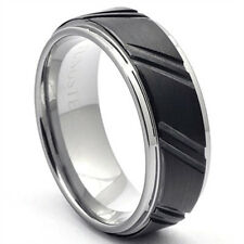 Tungsten Ring Two-Tone Black Mens Wedding Band Couple-Grooved Brushed LWR