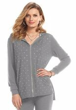 NWT AUTH Juicy Couture Rhinestone High Low Frost Gray Hoodie Jacket L-XL SHP FST