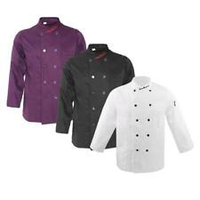Unisex Double-Breasted Long Sleeve Chef Jacket Coat Cooker Catering Uniforms
