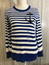 NWT Tommy Hilfiger Womens Anchor Stripe Pullover Sweater Medium Small