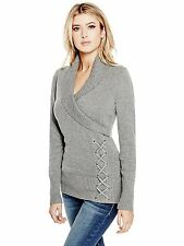 Guess Sweater Women's Shawl Collar with Lace Up Detail Pullover Top S Grey NWT