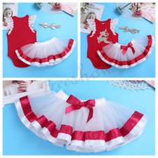 Baby Girls Christmas Outfit Infant Romper Tutu Skirt Headband Xmas Costume Set