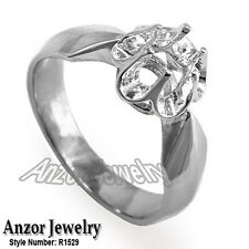 14k Solid White Gold Engagement Setting Russian Style Ring Sizes 4- 9.5 # R1529.