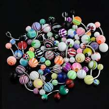 "Wholesale Lot Tongue, Navel Belly Button Ring 14g 5/8"" SS 316L Acrylic"