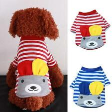 Small Pet Dog Cat Stripe Warm Clothes Apparel Costume Cute Bear Top T-Shirt