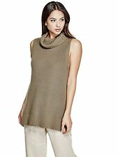 Guess Tunic Sweater Women's Roll Neck Split Hem Sleeveless Knit Top M Olive NWT