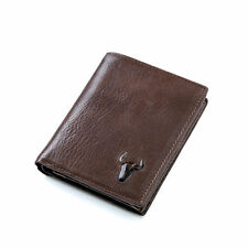 Real Leather Men's Trifold Vintage Wallet Credit Card Holder ID Coin Purse