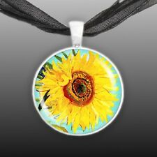 """Sunny Yellow Sunflower Van Gogh Art Painting 1"""" Pendant Necklace in Silver Tone"""