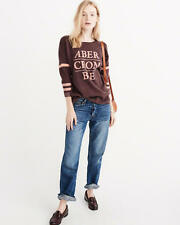Abercrombie & Fitch Sweater Women's Logo Graphic Pullover Top XS Burgundy NWT