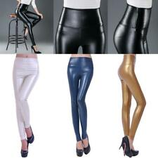 Womens High Waist Leggings Wet Look Faux Leather Full Length Slim Pencil Pants
