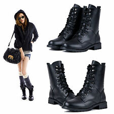 Women Knight Ankle Flat Leather Martin Boots Lace Up Military Biker Combat Shoes