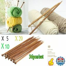 LOT Single Pointed Knitting Needles Set (10in 18 pairs Bamboo Wood Carbonize) TN