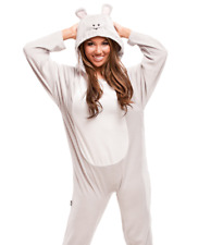 Grey Mouse Unisex Adult Sized Footed Hoodie Costume Cosplay Pajamas
