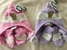 BNWT Forever Friends Pink or Lilac Fleece Hat and Mittens set - Age 0 - 9 mths