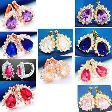 Earrings Hoop Gorgeous CZ White+Purple/Red/Blue/Champ/Pink Color Gems Y/R/W-GP