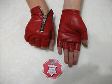 RED  LEATHER FINGERLESS  GLOVES SIZE 6, 6.5, 7, 7.5