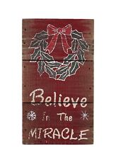 Wood Sign Believe in the Miracle Christmas Home Decoration