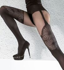 AGATHA Microfibre Tights Nylons Hosiery Patterned Faux Hold Up Fiore 40 den NWT