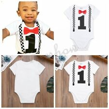 Infant Baby Boys Bowknot 1 Birthday Christmas Romper Jumpsuit Outfit Party Photo