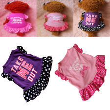 Cute Pet Puppy Dog Ruffled Letter Print Polka Dot Dress Apparel Clothes Nimble