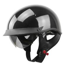Bright Black DOT Approved Half Open Face Helmet for Harley Cruiser Motorcycle