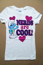 "NEW SMURFS TEESHIRT WHITE ""NERDS ARE COOL"" BRAINEY 4/5 7/8 14/16"