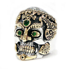 THIRD EYES HINDU GOD GRAVEYARD SKULL 925 STERLING SILVER GOTH BIKER RING jo-r018
