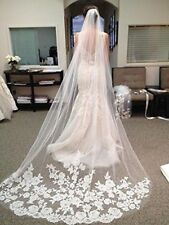 New Wedding Veils 1 Layer  White/Ivory  Lace Edge Brial Veils With Comb