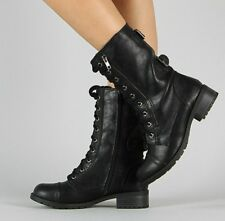 Soda Dome Black Vegan Leather Zipper Military Lace Up Mid Calf Combat Boots