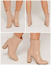 MISSGUIDED Patent Heeled Ankle Boots IN NUDE COLOUR MANY SIZES