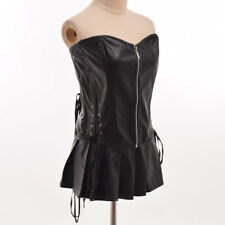 Black Sexy Strapless Lace up Lingerie Corset Bustier Gothic Clubwear Dress Set
