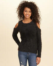 Abercrombie & Fitch Hollister Women's Cold Shoulder Fluffy Sweater XS Black NWT