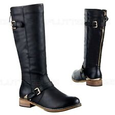 Womens Black Knee High Boots Gold Zip Buckles Flat Fur Lined Ladies Size 3 New